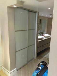 Sliding door for linen closet in modern bathroom Modern Closet Doors, Glass Closet Doors, Sliding Closet Doors, Sliding Glass Door, Linen Cupboard, Cupboard Doors, 2 Panel Doors, Closet Designs, Modern Bathroom