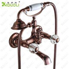 Luxury Crystal Handwheel Gold Bathroom Bathtub Shower Faucet Set Diverter  Spray Mixer Tap Chuveiro Torneira Sanitary