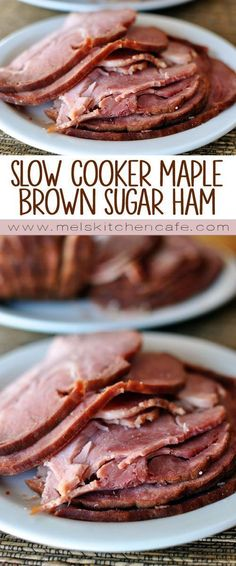 Slow Cooker Maple Brown Sugar Ham A slow cooker ham that is juicy, flavorful, and so simple! The maple, brown sugar and pineapple flavors are the perfect combination for a tasty glaze. Brunch Recipes, Meat Recipes, Slow Cooker Recipes, Crockpot Recipes, Cooking Recipes, Cooking Ideas, Diner Recipes, Brunch Food, Apple Recipes