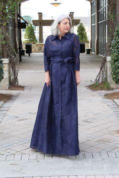 Organza Jacquard Shirtdress Gown | Teri Jon