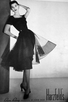 1950's vintage Vogue ad for Harzfield's