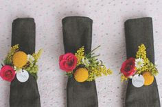 DIY Wednesday: Floral Napkin Rings / Place Cards from @projectwedding - These fresh floral napkin rings will help guests find their seats at your party by doubling as place cards!