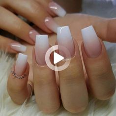 White pink ombre acrylic fingernails - Manicure - French tip - Square shaped long nails - cute summer fall spring finger Short Square Acrylic Nails, Short Gel Nails, Long Nails, Squoval Acrylic Nails, Clear Acrylic Nails, Acrylic Nail Designs, Coffin Nails, Ombre Nail Colors, Purple Ombre Nails
