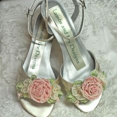 Garden Wedding Pink Rose Wedding Shoes Bridal  Shoes by AJuneBride, $124.95