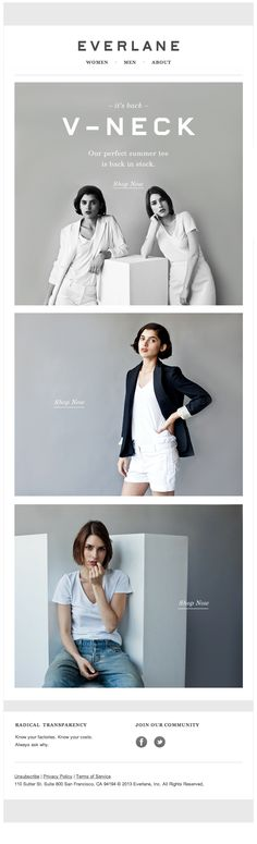 Everlane Email Design - simple photographic classic colors