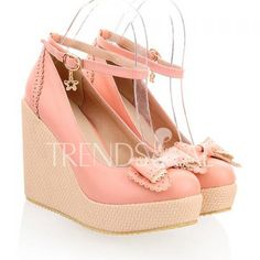 Wholesale Elegant Bow and Carving Design Women's Wedge Shoes Only $20.59 Drop Shipping   TrendsGal.com