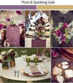 Plum purple wedding decorations glittering gold and plum wedding Purple And Gold Wedding, Gold Wedding Colors, Plum Wedding, Autumn Wedding, Rustic Wedding, Wedding Flowers, Dream Wedding, Trendy Wedding, Purple Wedding Decorations