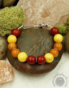 Amazing amber!  Amber and sterling silver bracelet by EarthWhorls.  One of a kind, handmade, free shipping on all orders.