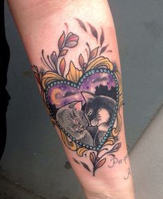 Cats in love tattoo Biancaneve tattooer Milano