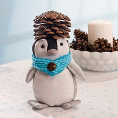 Plush Winter Penguin with Pinecones - TerrysVillage.com