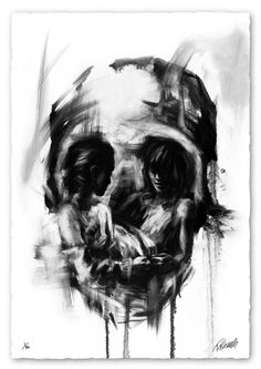 Smudges skull image with smaller images of people within the eye sockets