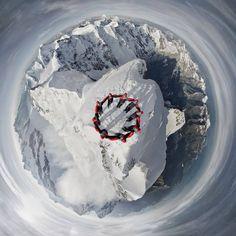 Amazing drone-selfi of climbers on the summit of the Matterhorn