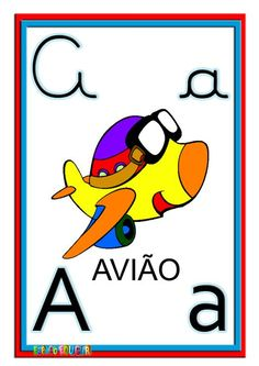 ESPAÇO EDUCAR: Alfabeto ilustrado colorido cartazes de parede