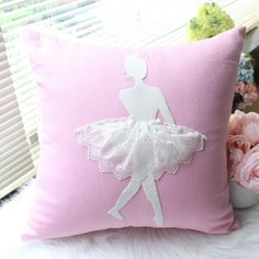 Beautiful Cushion Cover for your little dancer Handmade Detailed Material:Linen / Cotton / Lace Size: Removable and Washable Large Zipper Teen Room Decor, Girl Decor, Nursery Decor, Bedroom Decor, Ballerina Bedroom, Ballerina Art, Ballet Art, Baby Pillows, Throw Pillows