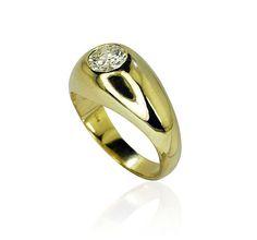 Gelbgoldring 585 mit einem DiamantenBandring  0,852ct Diamanten Gelbgold Feuriges Gold - Ein Ring für alle Tage  Bandring mit einem glitzernden Diamanten mit 0,852 ct in einer Chatonfassung. Die Ringschiene aus 14 kt Gelbgold ist glänzend poliert und verjüngt sich im Verlauf leicht nach unten.  #schmuck @schmuck_boerse #vintage #weihnchten #diamant  http://schmuck-boerse.com/ring/207/detail.htm