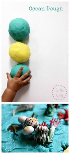 Ocean Dough - homemade play dough for kids, for imaginative, small world ocean play. Great for an under the sea or beach theme. Danya Banya