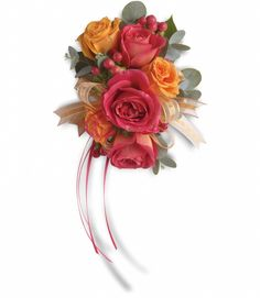 the corsages would look like this but the roses would be josephs coat and there would be black eyed susies and babys breath