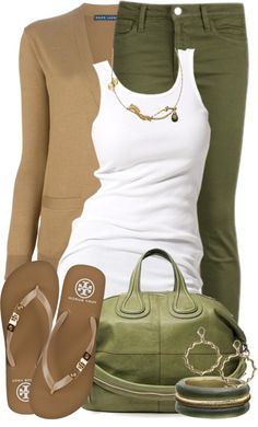 Olive Green by tammylo-12 on Polyvore Id probably switch the colors- camel pants with green sweater