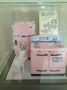 Of particular interest (and cuteness) is the loan information for the contemporary Barbie! Info: Barbie's Easy-As-Pie Cookbook (Random House, 1964, 2001.128.1); Signature Brand toy kitchen set (Montgomery Ward & Company, 1961, H.7490.5.A-.B); Barbie and Barbie chair (Mattel Inc., El Segundo, California 2013; Loan courtesy Charlotte Jeremias, age 5 1/2) Colorado History Museum, Denver. Image courtesy Nicole Pulichene