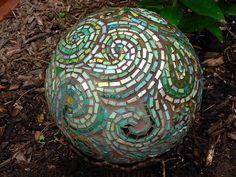 Green Paisley Garden Gazing Ball by Nutmeg Designs, via Flickr