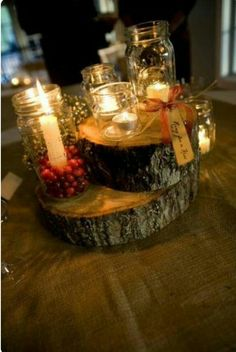 Wood, candles and cranberries.