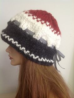 d0912010d60 Hand Knit Hat RESERVED FOR LILLI..Slouch Beret Cap Beanie Designer Fashion  Red Gray White Cherckers Firisle Big Winter Snow Ski
