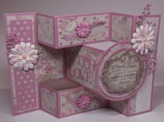 Tattered Lace Dies: Pretty in Pink by Gail Tri Fold Cards, Fancy Fold Cards, Folded Cards, Card Making Inspiration, Making Ideas, Trifold Shutter Cards, Pinterest Cards, Stepper Cards, Tattered Lace Cards
