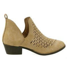 These gorgeous pair of ankle booties feature an almond toe front, faux suede upper, rubber sole with a stacked short heel with side cut outs and an intricate decorative laser design. Perfect western s