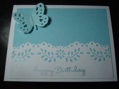 Handmade Birthday Card Stampin Up Uchida Marvy Butterfly Punch Martha Stewart