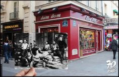 """Nous sommes de l'autre côté de la rue, face à Notre-Dame au célèbre """"fortin de la Huchette"""" qui protégeait les abords de la Préfecture de Police. Cette dernière avait donné le signal de l'insurrection le 19 août 1944. Les parisiens en armes posent devant l'objectif de Robert Doisneau. Une barricade célèbre et photogénique qui servit essentiellement comme poste de secours. - Rue de la Huchette - Golem13"""