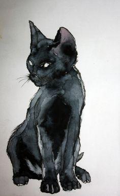 Vodoc aka Chris (Switzerland) - Mon Ptit Chat Noir, 2011 Paintings: Watercolors http://vodoc.deviantart.com/art/Mon-ptit-chat-noir-205508708
