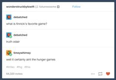 """When they discovered Finnick's favorite game. 