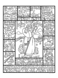 Psalm 23 coloring page in three sizes: 8.5X11, 8X10 suitable for framing, 6X8 for Bible journaling tip-in