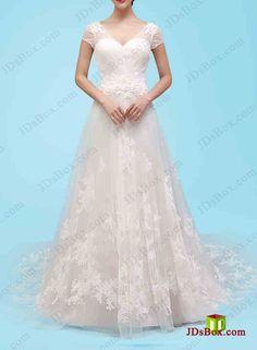 H1457 ELegant cap sleeved soft tulle lace a line wedding dress