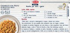"""Fatevi ispirare dalle ricette di """"Oggi pasta con""""! Che ne dite di queste caserecce con pesto di ricotta e noci con carciofi? #oggipastacon #Barilla"""