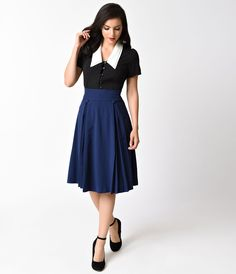 The Kennedy Skirt from Hell Bunny is a remarkable A-line skirt with a high banded waistline that secures by a back zipper and hook. Crafted in a gorgeous navy blue crepe, this stunning frock is beauteously pleated and has a Holiday Dresses, Special Occasion Dresses, 1940s Fashion, Vintage Fashion, Swing Skirt, Hipster Fashion, Well Dressed, Trendy Outfits, Spring Fashion