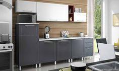 Cozinha preta e branca simples. Clique na imagem para saber mais.