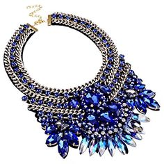 Holylove 6 Colors Fashion Handmade Glass Crystal Choker Statement Gold Chain Collar Necklace * Review more details @
