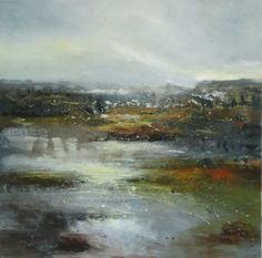 "Saatchi Art Artist: Claire Wiltsher; Oil 2014 Painting ""Silver heathland"""