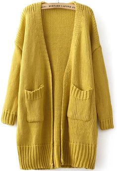 Yellow Long Sleeve Pockets Knit Cardigan