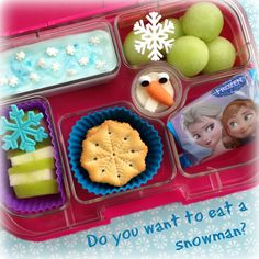 Frozen Yumbox preschool lunch with easy cheese Olaf!