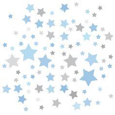 Kinderzimmer Wandsticker Sterne blau/grau 68-teilig