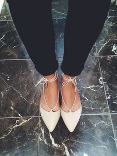 Make These Super Trendy Lace Up Flats on a Budget | Her Campus | http://www.hercampus.com/style/make-these-super-trendy-lace-flats-budget