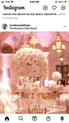Breakers Palm Beach, The Breakers, White Floral Centerpieces, Instagram, White Flower Centerpieces