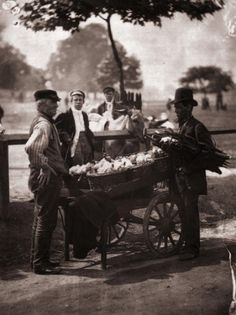 1877: Victorian 'Mush-Fakers' and ginger beer makers with their cart. Original Publication: From 'Street Life In London' by John Thomson and Adolphe Smith - pub. 1877