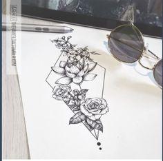 geometric floral tattoo drawing