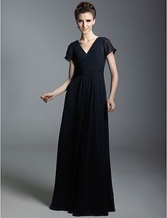 >> Click to Buy << New Black Simple Chiffon Custom Made A-Line Column V-neck Floor-length Mother  Dress  Hot  Sale Sex Backless Mother Gown Cheap #Affiliate