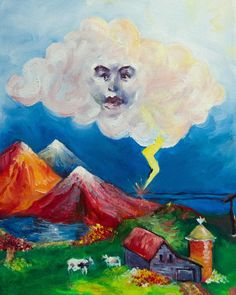 Here comes the #posh #cloud // #oil #art // www.tizcreel.com Visit www.tizcreel.com to se full work street art colors collage watercolor mexico mix media acrylic object stickers engraving oil