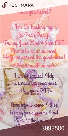 Hosting my 1st Posh Party! My fellow PFFs, the Posh Goddesses have finally smiled upon me and I get to co-cost my first party! Theme is tbd but I can't wait to start making my Host Pick closet list! Please share the news and tag your PFFs that have great Posh compliant closets! 💋🍸 Bags