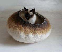 Cat Bed / Cave / House / Vessel - Hand Felted Wool - Latte Bubble Stone - Crisp Contemporary Design